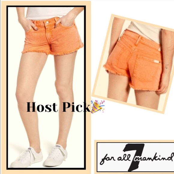 7 For All Mankind Pants - Shorts 7FAM Raw Edge Denim Cool Peach Host Pick🎉